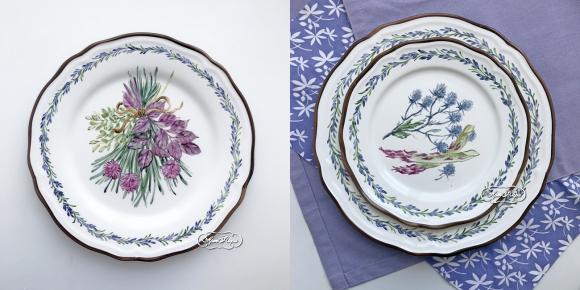 Столовые тарелки на 6 персон Травки 28 см , 22 см