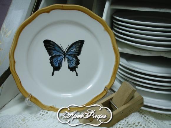 "Тарелка 22 см, из коллекции ""Бабочки на стене"" № 6, 1500 рублей"