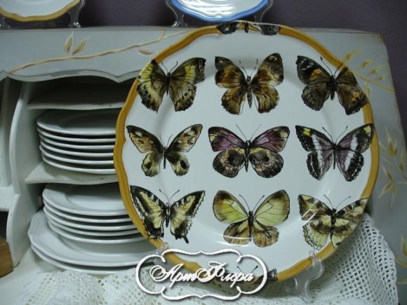 "Тарелка 32 см, из коллекции ""Бабочки на стене"" № 3 , 3500 рублей"