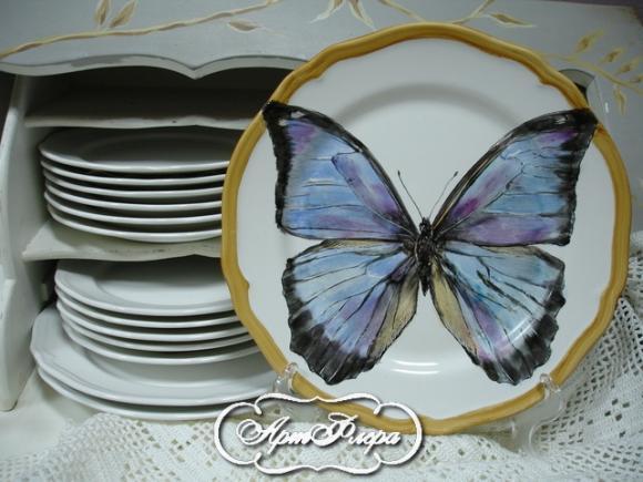 "Тарелка 28 см, из коллекции ""Бабочки на стене"" № 4 , 3000 рублей"