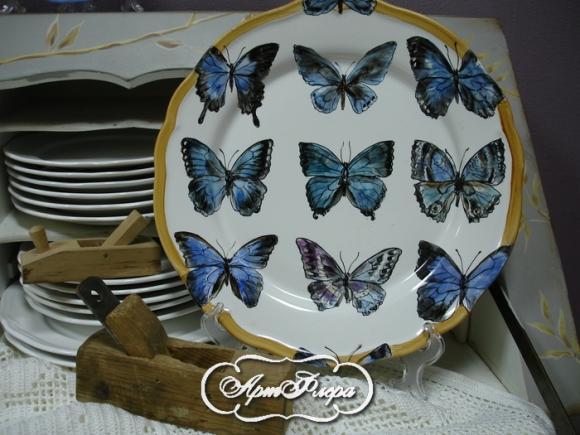 "Тарелка 32 см, из коллекции ""Бабочки на стене"" № 2 , 3500 рублей"