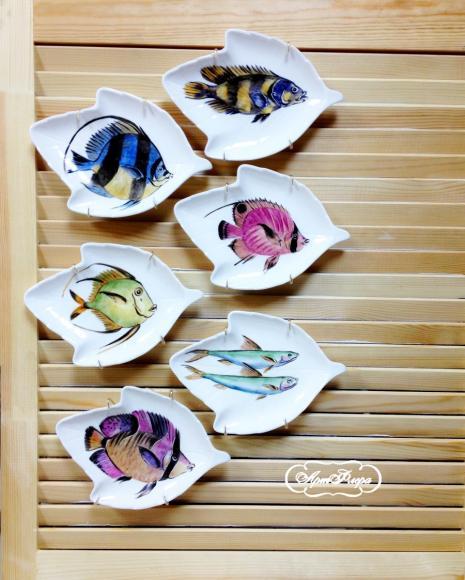 """Коллекция тарелок """"Рыбки"""" , 6 шт."""
