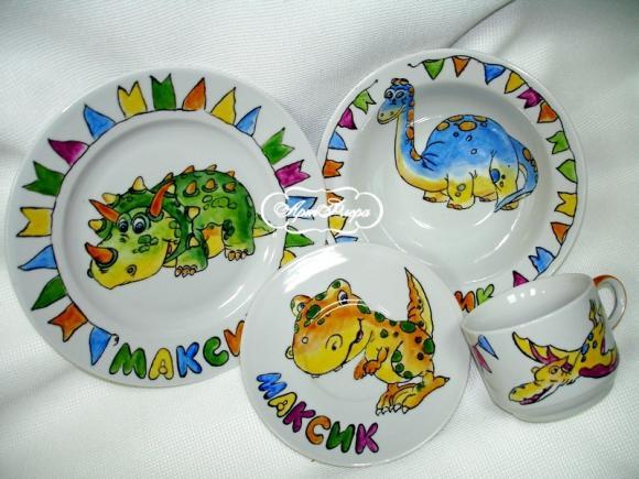 """Именной набор """"Динозаврики"""", 4 предмета"""