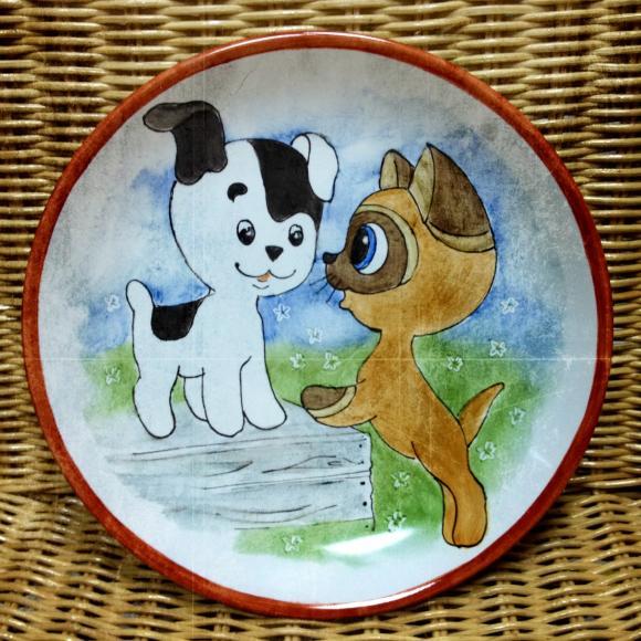 """Тарелка  """"Котенок по имени Гав"""", из  набора детской посуды ."""