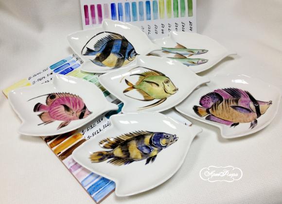 """Коллекция тарелок """"Рыбки"""" , 6 ш"""
