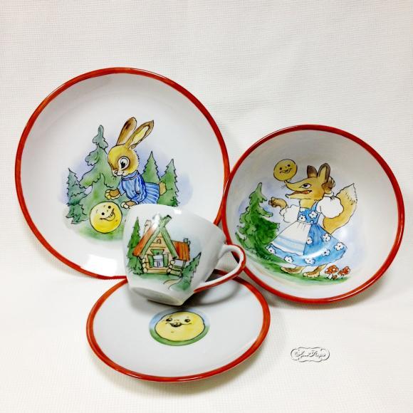 """Набор детской посуды """" Колобок"""", 4 предмета"""