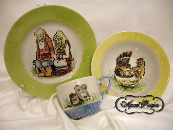 """Набор детской посуды """" Курочка ряба"""" , из 3 предметов"""