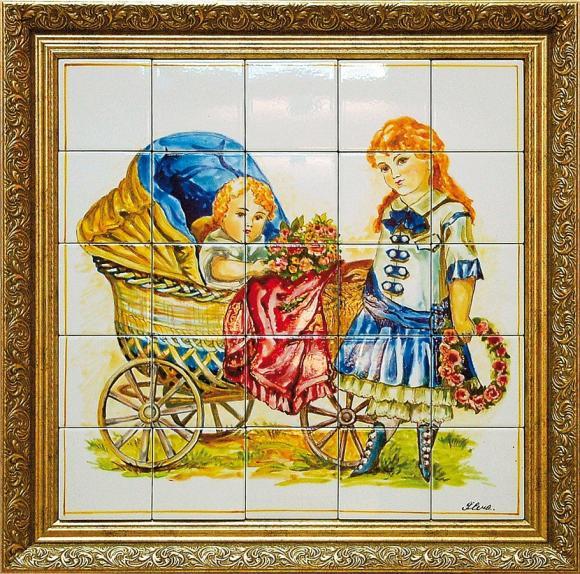 Старинные lt b gt открытки lt b gt lt b gt девочка lt b gt с коляской 50х50 см