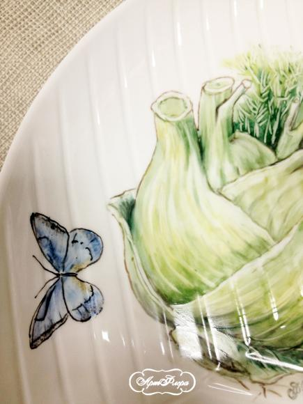 Фрагмент росписи блюда с фенхелем
