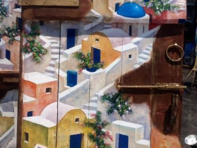 Санторини в росписи на двери
